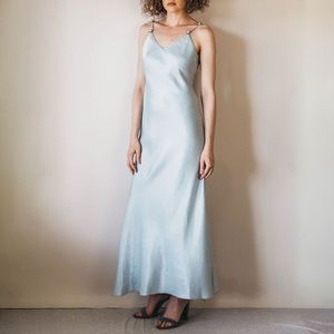 Vintage 90s Baby Blue Iridescent Formal Dress
